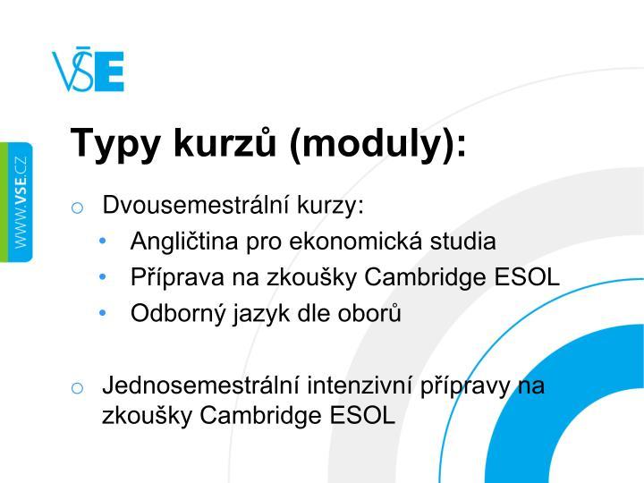 Typy kurzů (moduly):