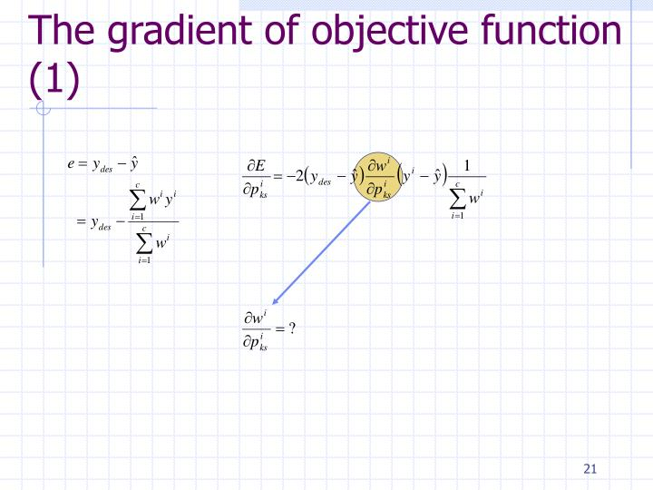 The gradient of objective function (1)