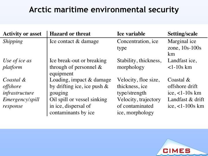 Arctic maritime environmental security