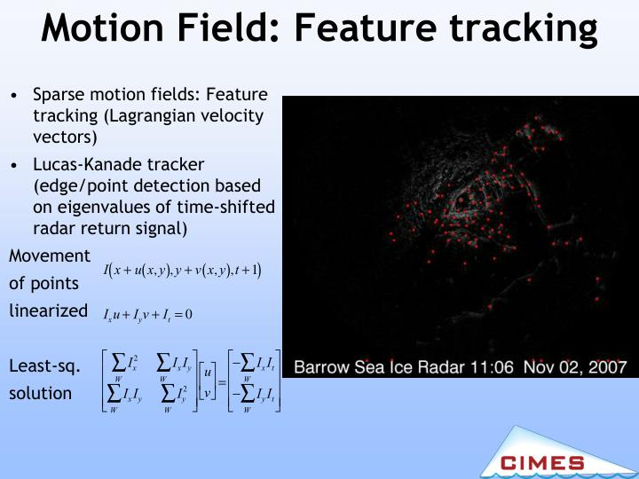 Motion Field: Feature tracking