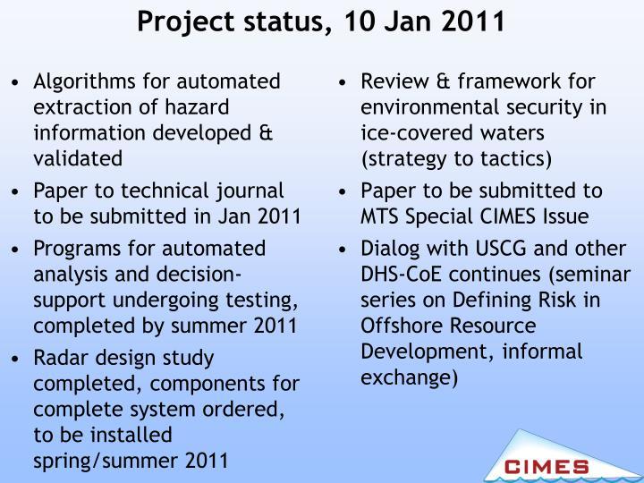 Project status, 10 Jan 2011