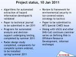 project status 10 jan 2011