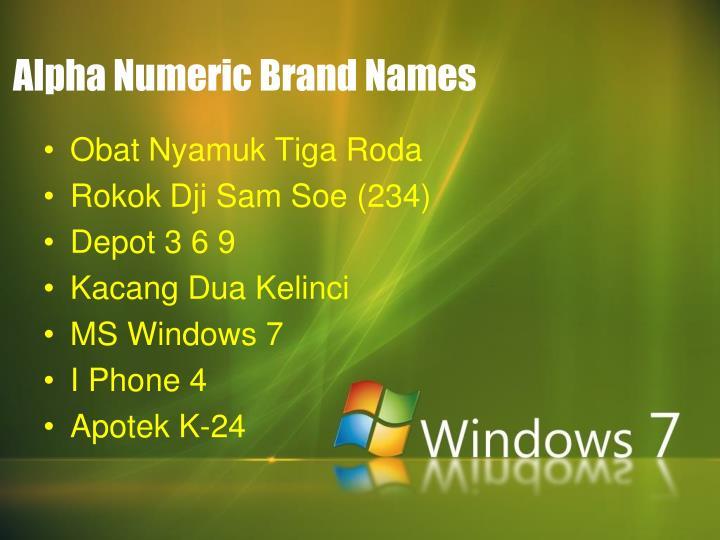 Alpha Numeric Brand Names