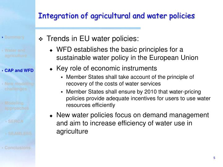 Integration of agricultural and water policies