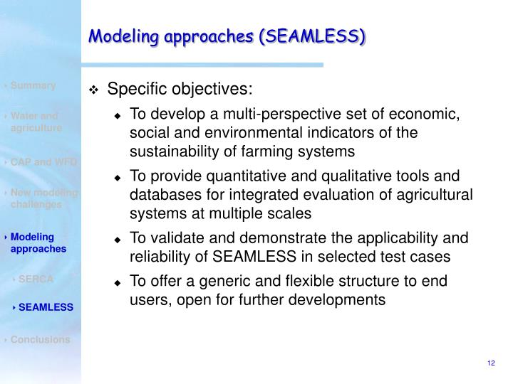 Modeling approaches (SEAMLESS)