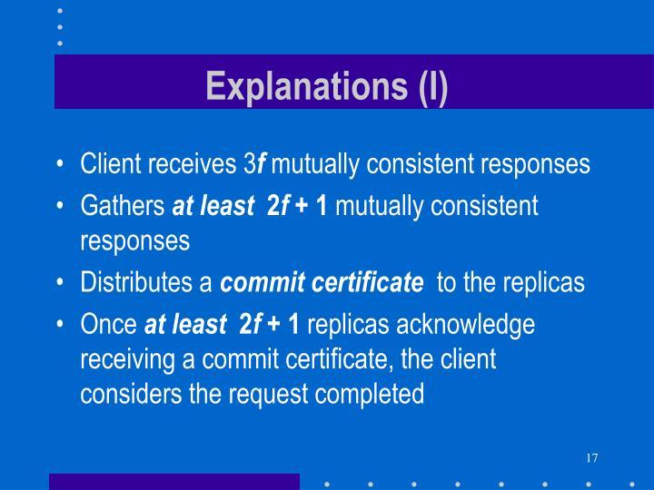Explanations (I)