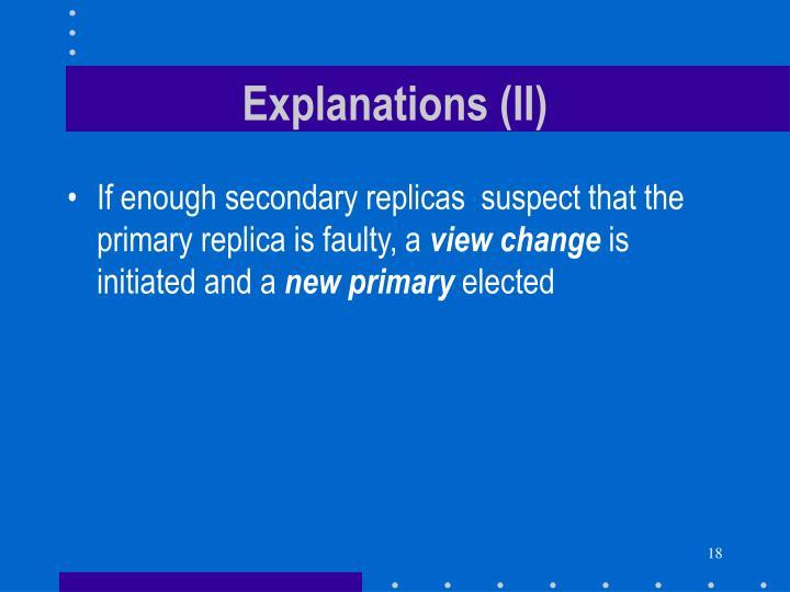 Explanations (II)