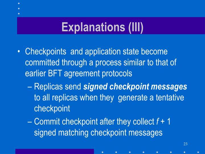 Explanations (III)