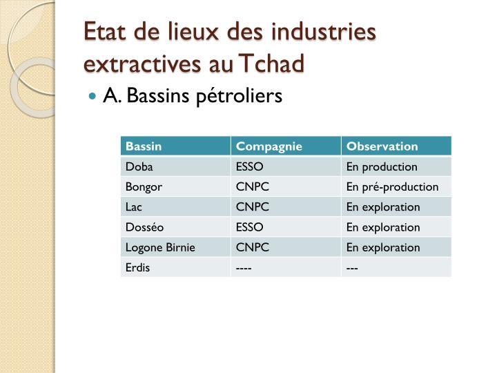 Etat de lieux des industries extractives au Tchad