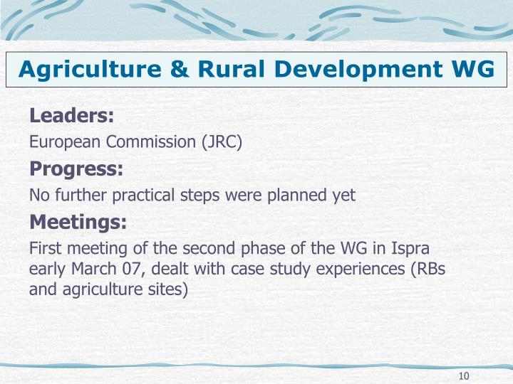 Agriculture & Rural Development WG