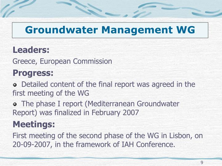 Groundwater Management WG