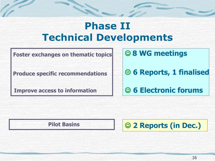 Phase II                                    Technical Developments