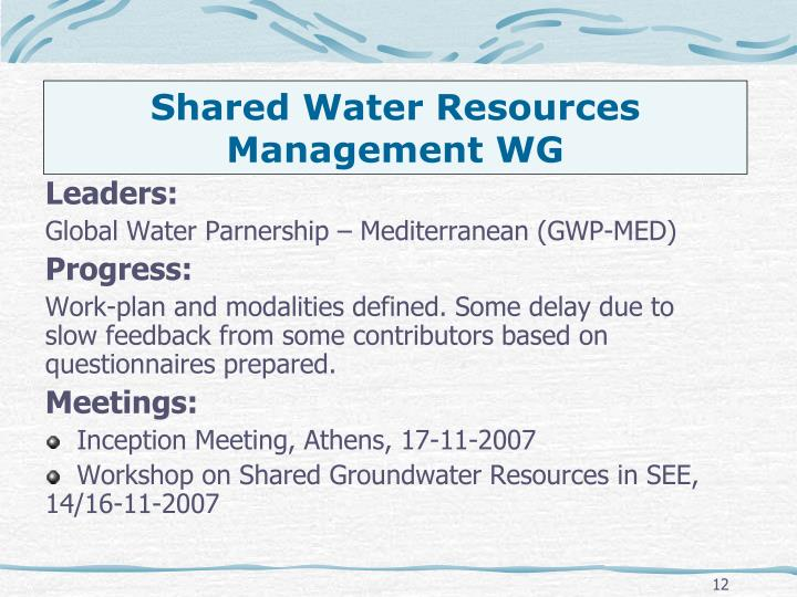 Shared Water Resources Management WG