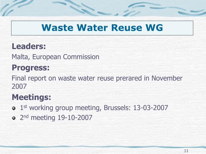 Waste Water Reuse WG