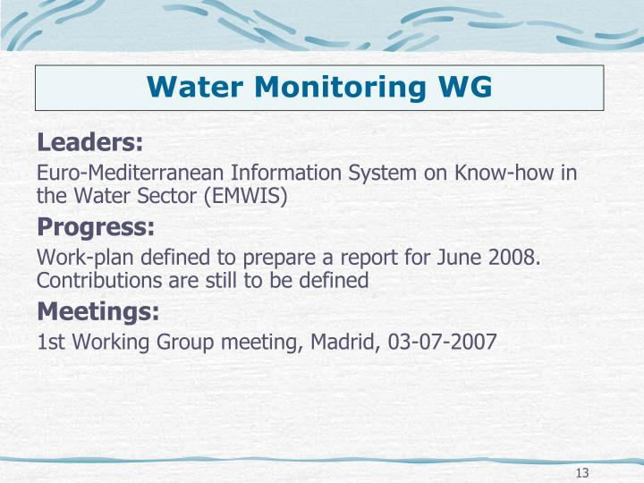 Water Monitoring WG
