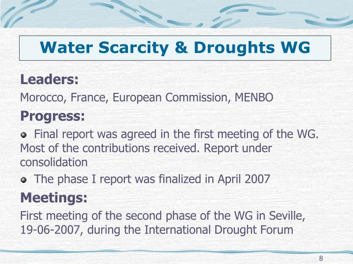 Water Scarcity & Droughts WG