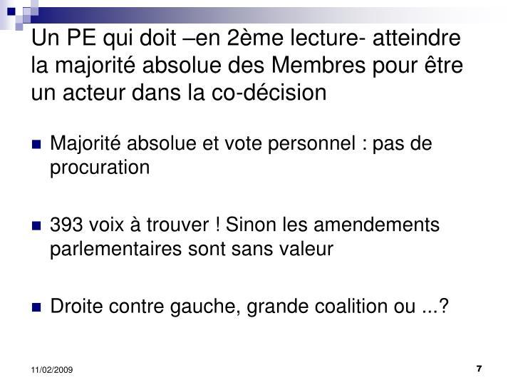 Un PE qui doit –en 2ème lecture- atteindre la majorité absolue des Membres pour être un acteur dans la co-décision