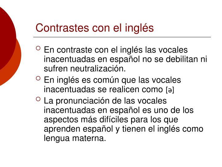 Contrastes con el inglés