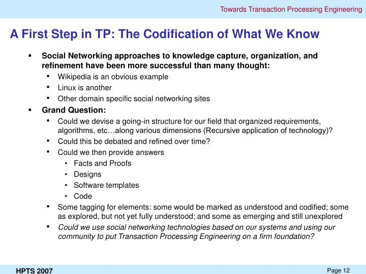 A First Step in TP: The Codification of What We Know