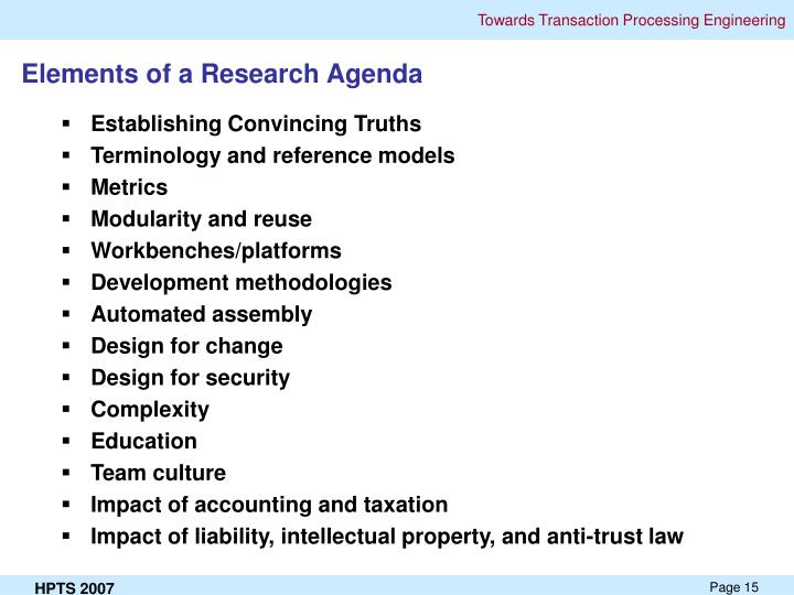 Elements of a Research Agenda