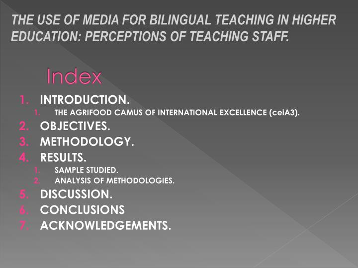 THE USE OF MEDIA FOR BILINGUAL TEACHING IN HIGHER EDUCATION: PERCEPTIONS OF TEACHING STAFF.
