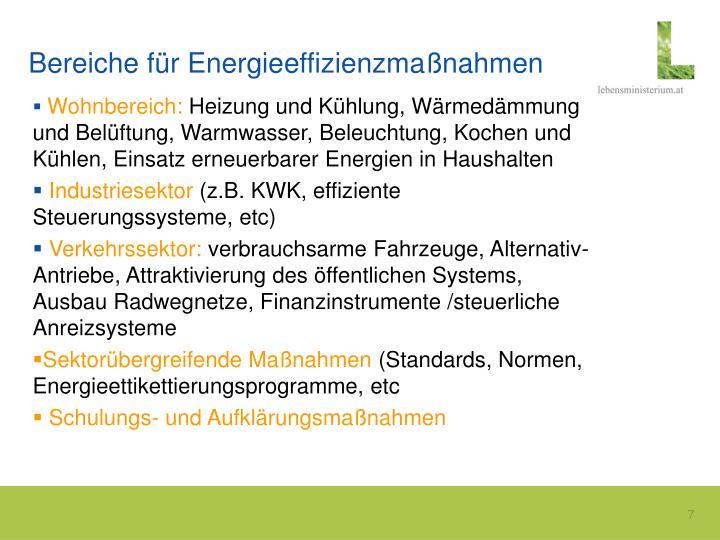 Bereiche für Energieeffizienzmaßnahmen