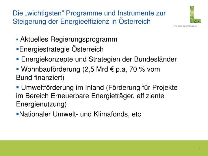 """Die """"wichtigsten"""" Programme und Instrumente zur Steigerung der Energieeffizienz in Österreich"""