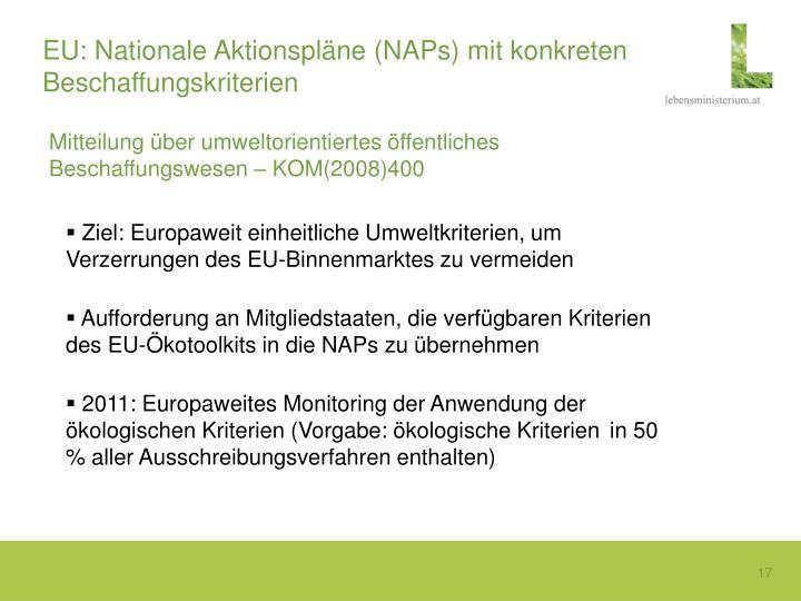 EU: Nationale Aktionspläne (NAPs) mit konkreten Beschaffungskriterien