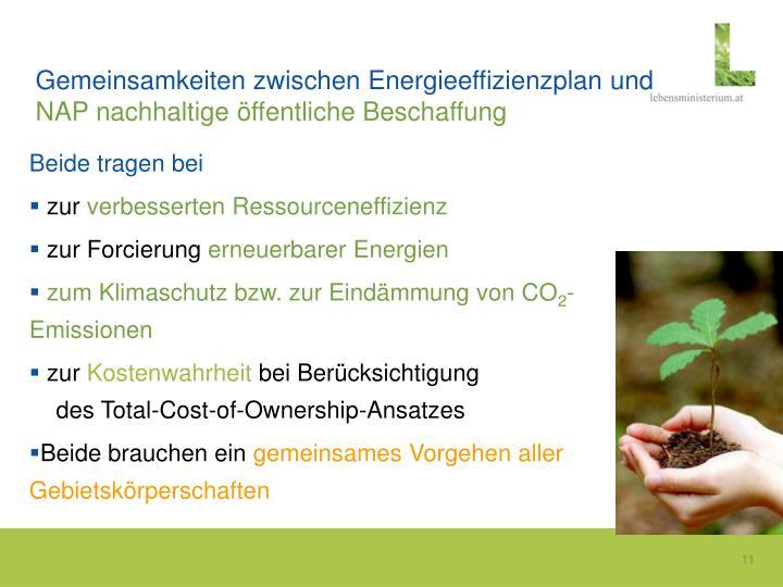 Gemeinsamkeiten zwischen Energieeffizienzplan und