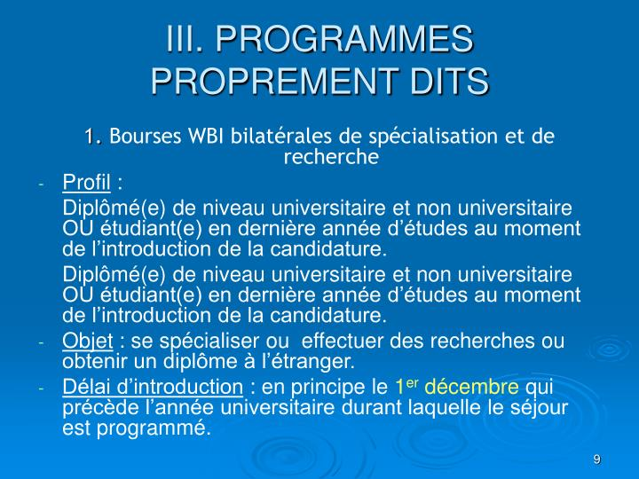 III. PROGRAMMES PROPREMENT DITS