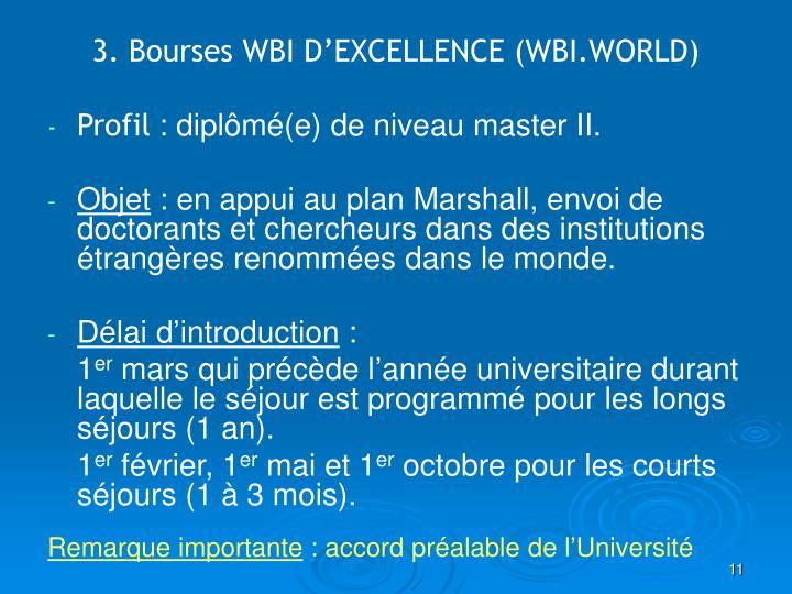 3. Bourses WBI D'EXCELLENCE (WBI.WORLD)