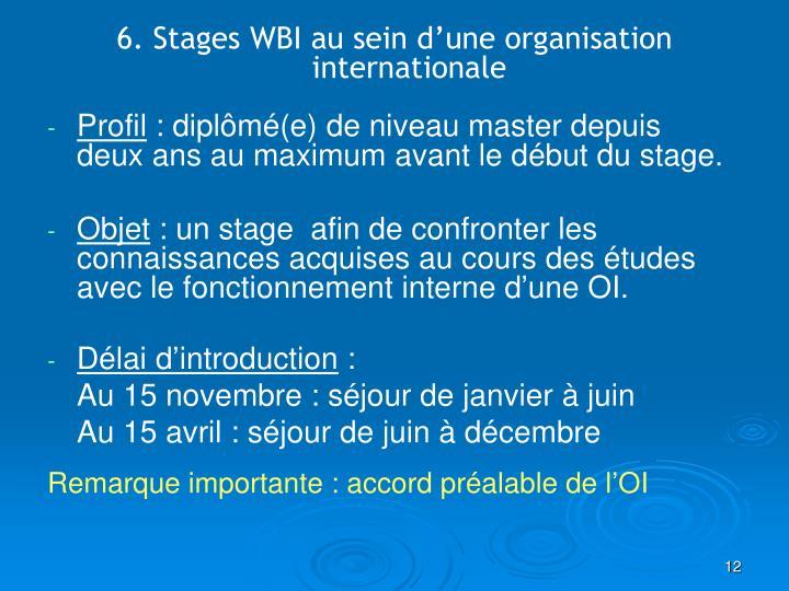 6. Stages WBI au sein d'une organisation internationale