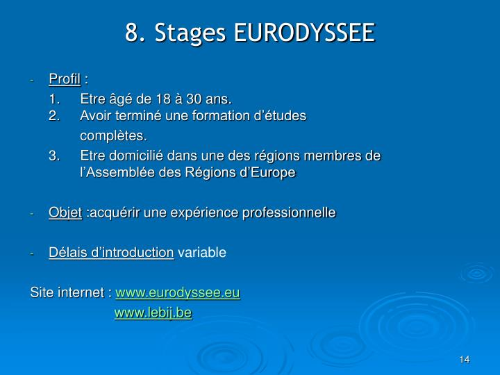 8. Stages EURODYSSEE