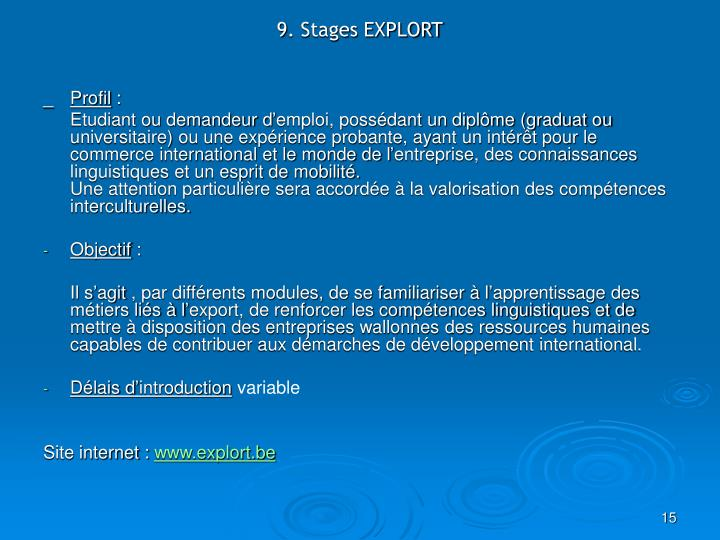 9. Stages EXPLORT