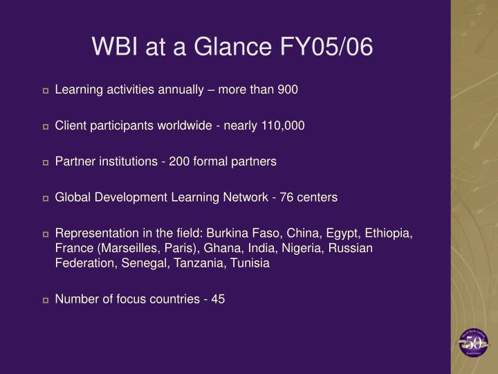 WBI at a Glance FY05/06