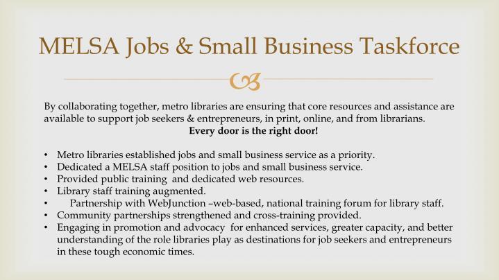 MELSA Jobs & Small Business Taskforce