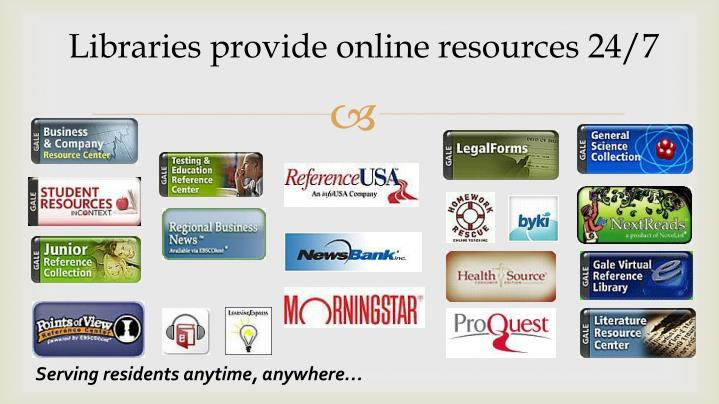 Libraries provide online resources 24/7
