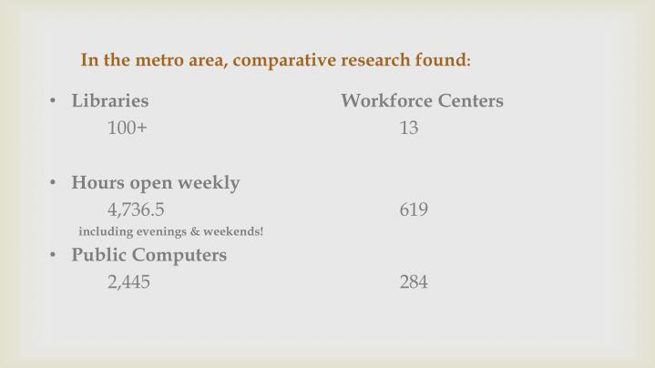 In the metro area, comparative research found