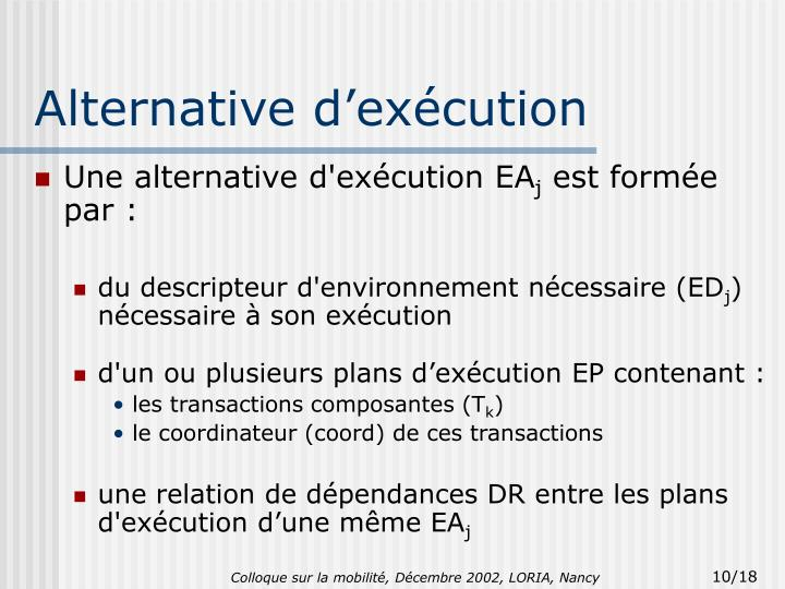 Alternative d'exécution