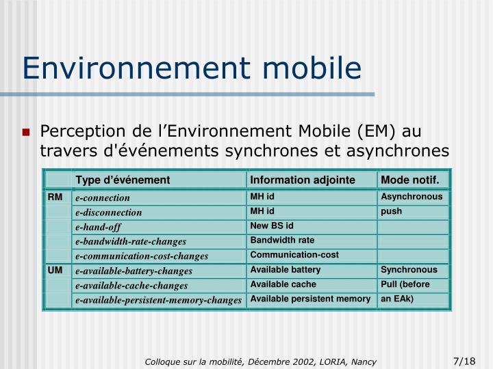 Environnement mobile