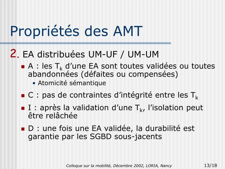 Propriétés des AMT