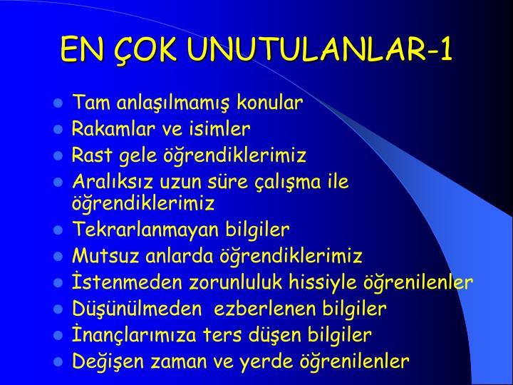 EN ÇOK UNUTULANLAR-1
