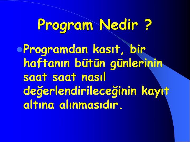 Program Nedir ?