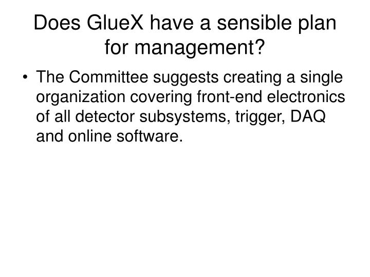 Does GlueX have a sensible plan for management?