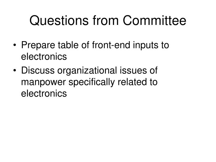 Questions from Committee