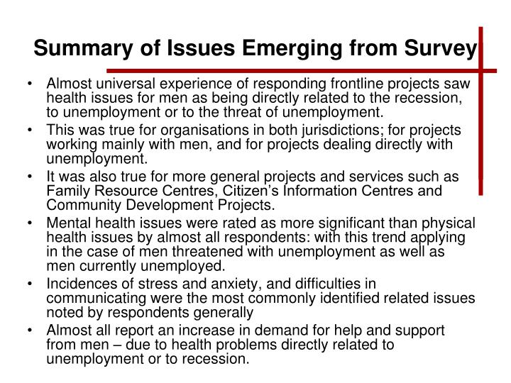 Summary of Issues Emerging from Survey