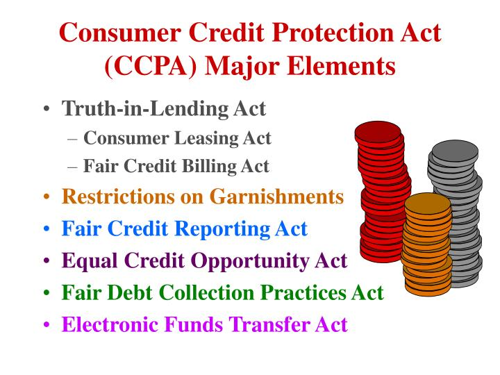 Consumer Credit Protection Act (CCPA) Major Elements