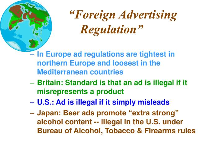 """Foreign Advertising Regulation"""