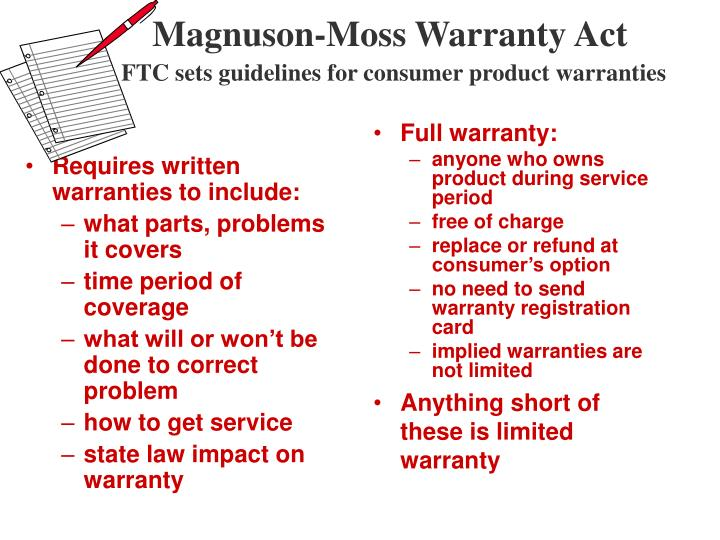 Requires written warranties to include: