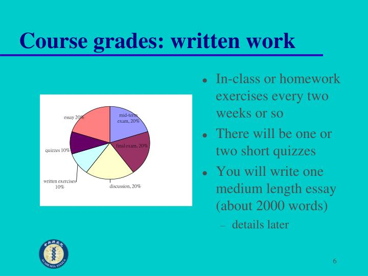 Course grades: written work